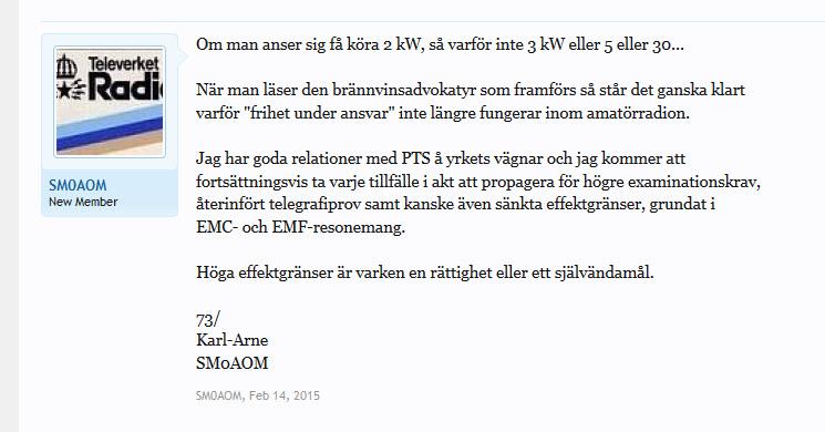 SM5AOM inlägg 14 feb 2015 på ham.se